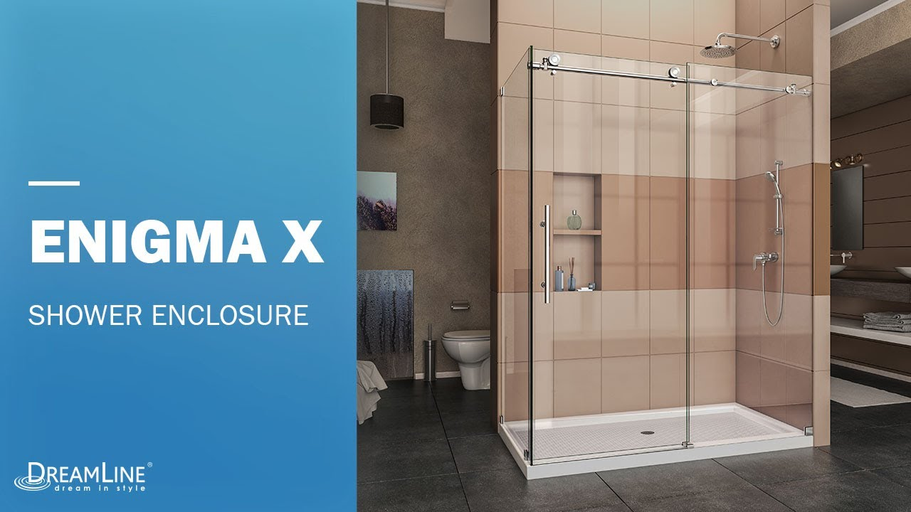 DreamLine Enigma-X Frameless Shower Door in Polished Steel | Sliding ...