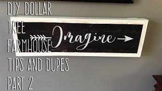 DIY Dollar Tree  Farmhouse  Tips and Dupes  Part 2 Framed Art Decor Signage