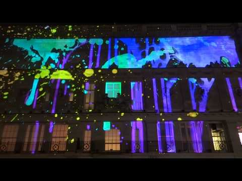 Magnificent lights show at Lumiere festival around Piccadilly street, London