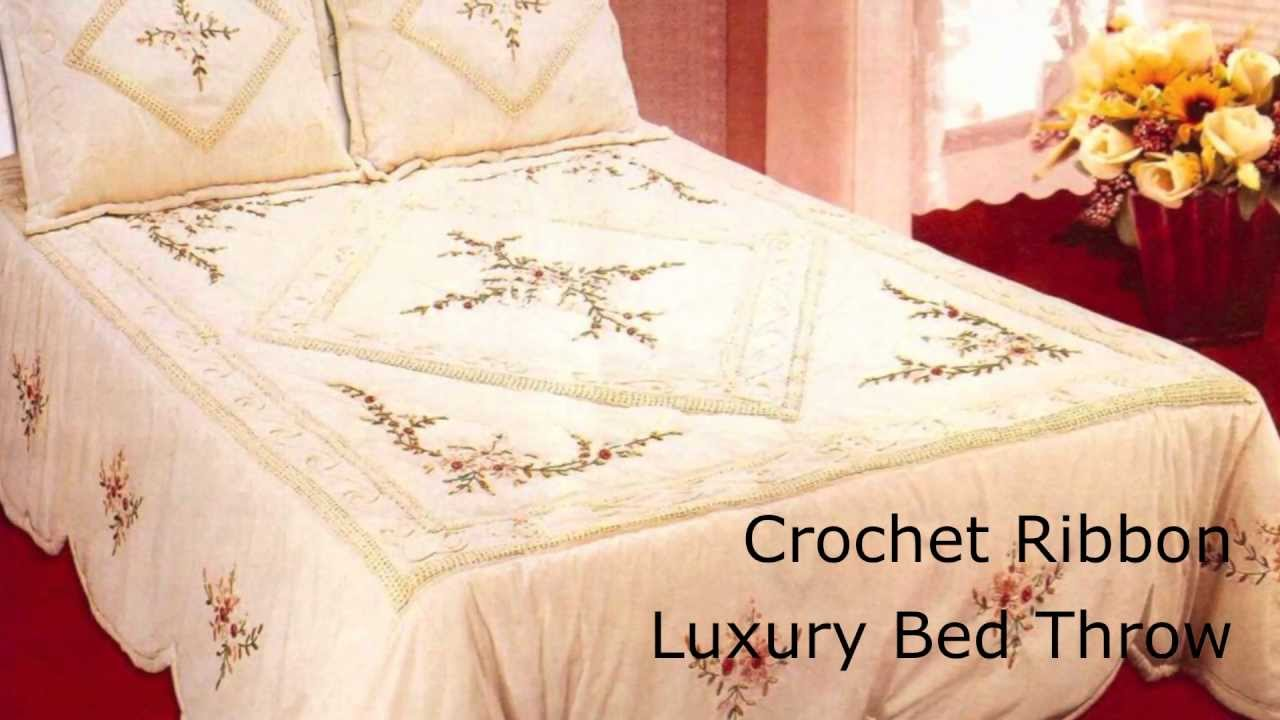 Ribbon work bed sheets designs - Luxury Crochet Ribbon Bed Throw