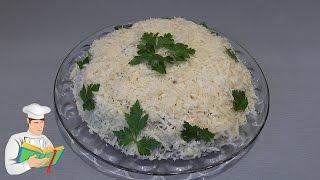 Салат из курицы, грибов, корейской морковки и сыра рецепт