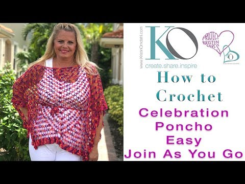 How To Crochet Celebration Poncho Join Triangles To Make Rectangles