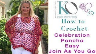 How to Crochet Celebration Poncho Join Triangles To Make Rectangles Figure Flattering Light & Lacy thumbnail
