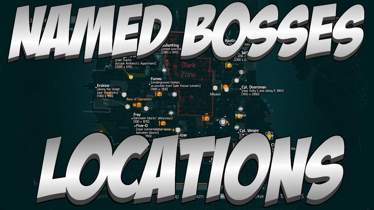 Map Of World Bosses In The Division.The Division All Light Zone Named Boss Locations Patch 1 4