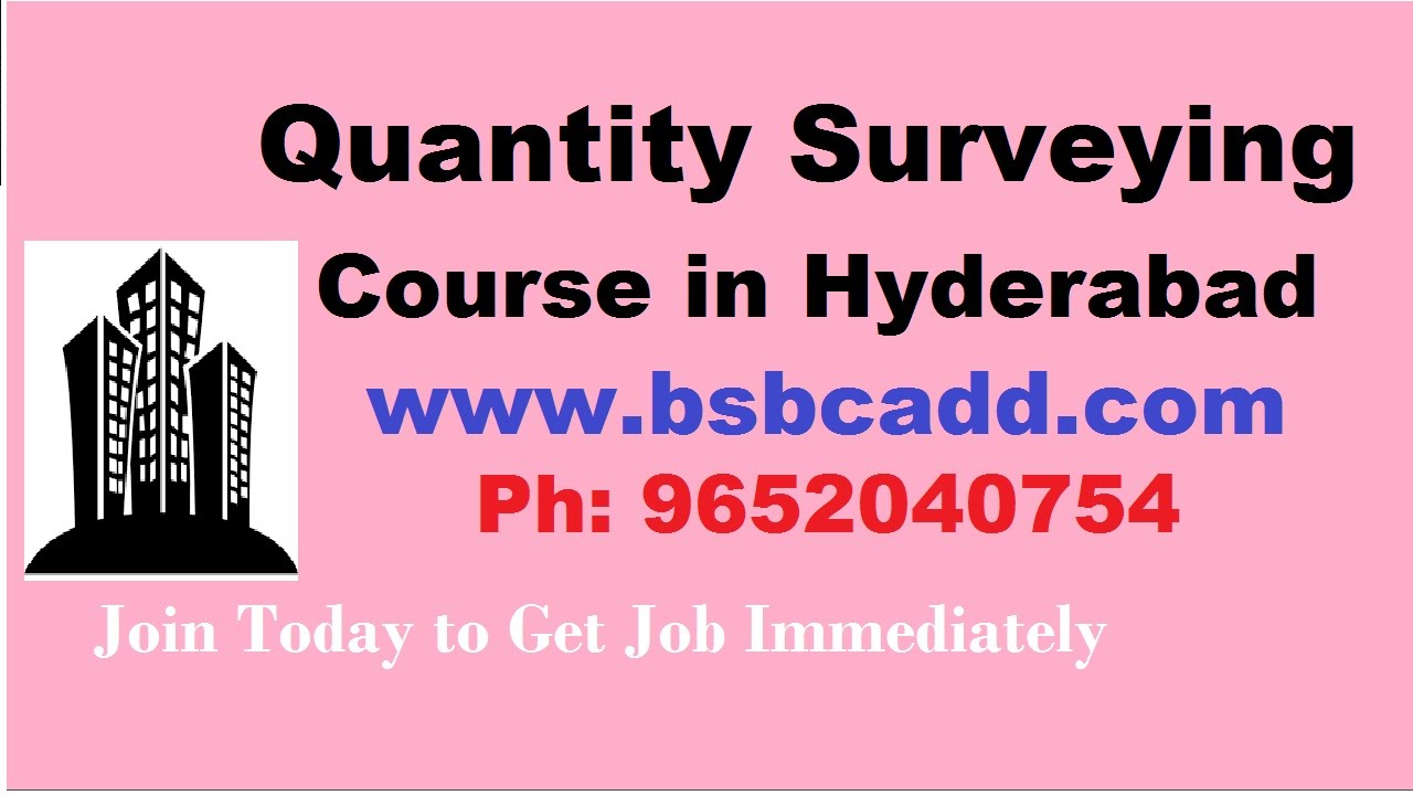 quantity surveying course in hyderabad bsb cadd youtube