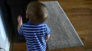 Nephew And Min Pin Walking Around In House [[ Cute Must Watch ]]