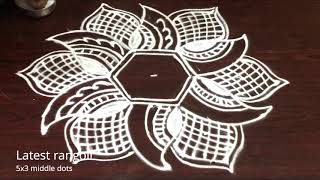 simple rangoli pattern design with 5x3 middle dots || easy rangoli designs || creative patterns