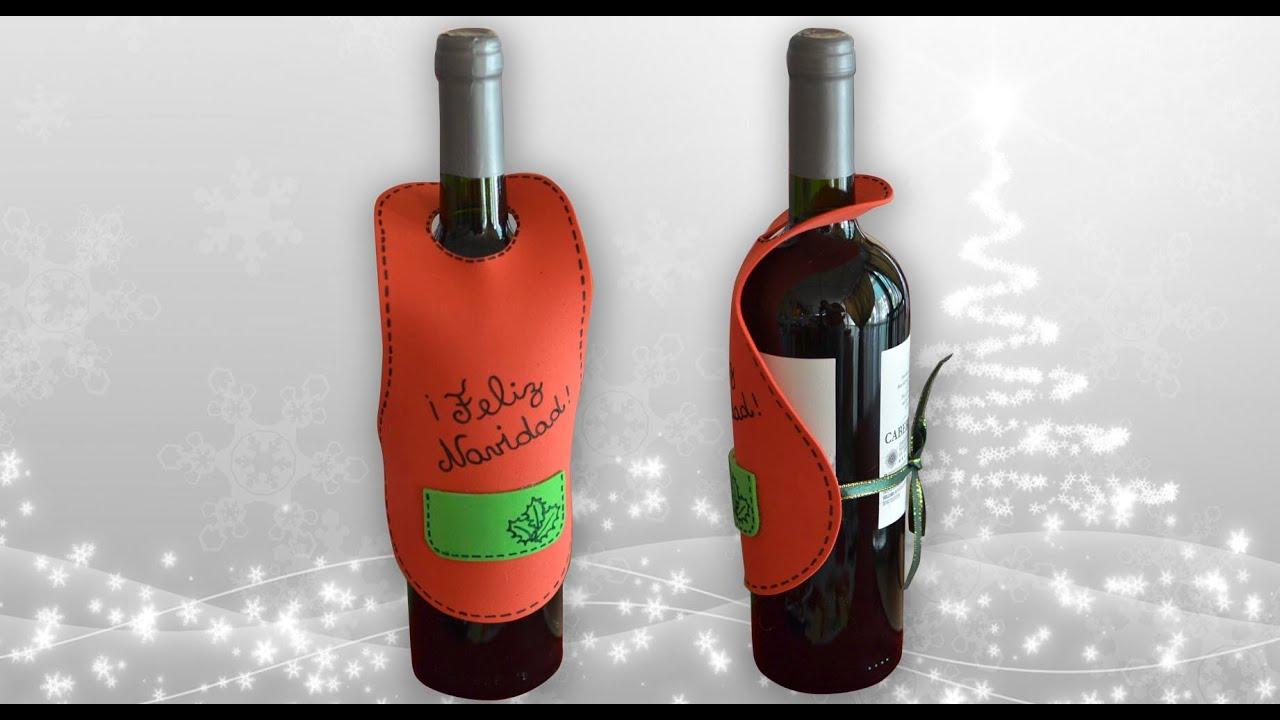 Haz tu propio delantal para botellas de vino navide o - Como poner bloques de vidrio ...
