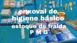 Enxoval de higiene básico do bebê + estoque de fraldas P M G