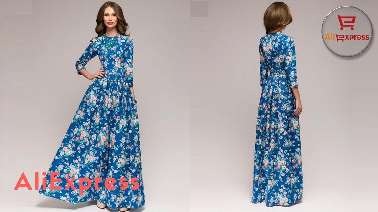 Одежда с Aliexpress - Теплое женское вязаное платье с длинными .