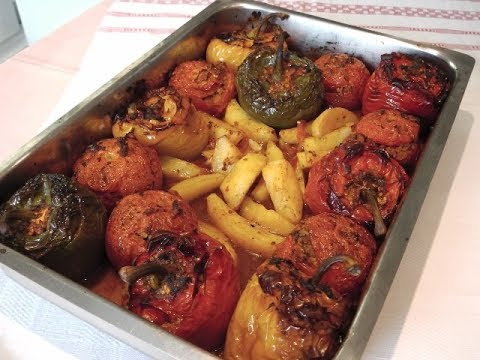 """STUFFED PEPPERS AND TOMATOES """"YEMISTA"""" - STAVROS' KITCHEN - GREEK AND CYPRIOT CUISINE"""