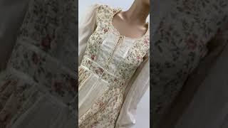 Vintage Gunne Sax Prairie Dress Long Yellow Calico Romantic Sz 5
