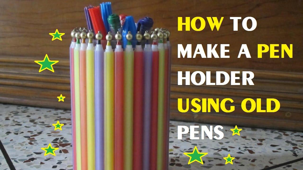 how to make a pen holder using old pens youtube. Black Bedroom Furniture Sets. Home Design Ideas