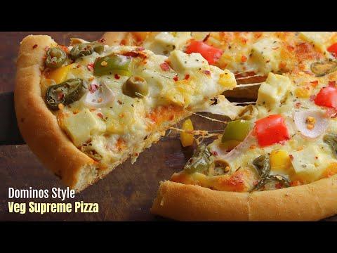 వెజ్ పిజ్జా|Dominos style Veg Supreme Pizza recipe at home in cooker & oven| pizza by vismai food