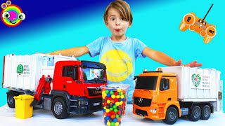 Garbage Trucks for Kids | BLiPPi Toy | Remote control Brüder Rubbish Truck | min min playtime