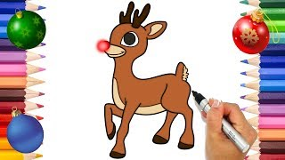 Rudolph The Red Nose Reindeer Coloring Page | Christmas Coloring Book | Printable Coloring Page