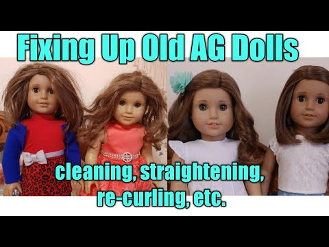Fixing Up 2 Old AG Dolls / Straightening, Re-curling Hair & More