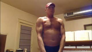 Muscle flexing after back workout, 57 y.o.