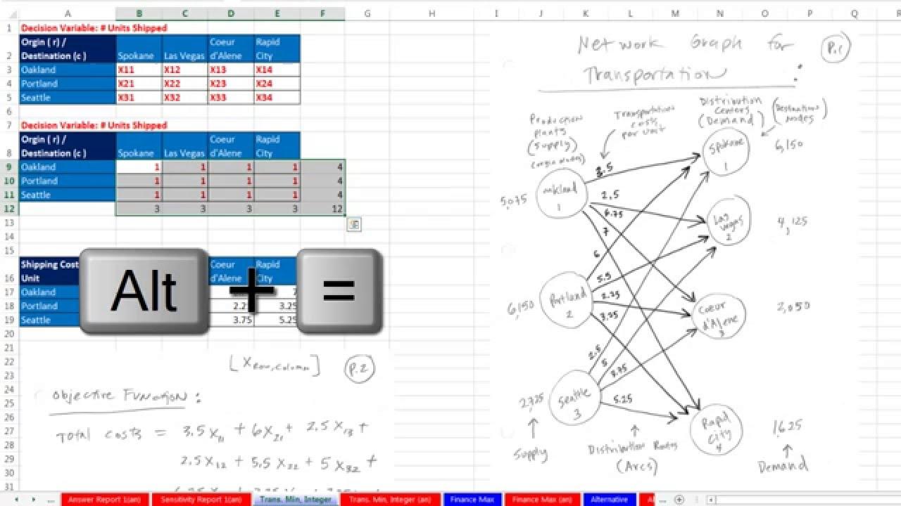 Basic Excel Business Analytics #60: Excel Solver: Minimize Transportation  Costs, Integer Variable