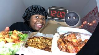 |NIGHT MUKBANG |SPILLING TEA! BBQ Chicken Pizza & Chicken tenders & More