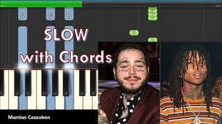 Post Malone, Swae Lee - Sunflower Slow Piano Tutorial with Chords
