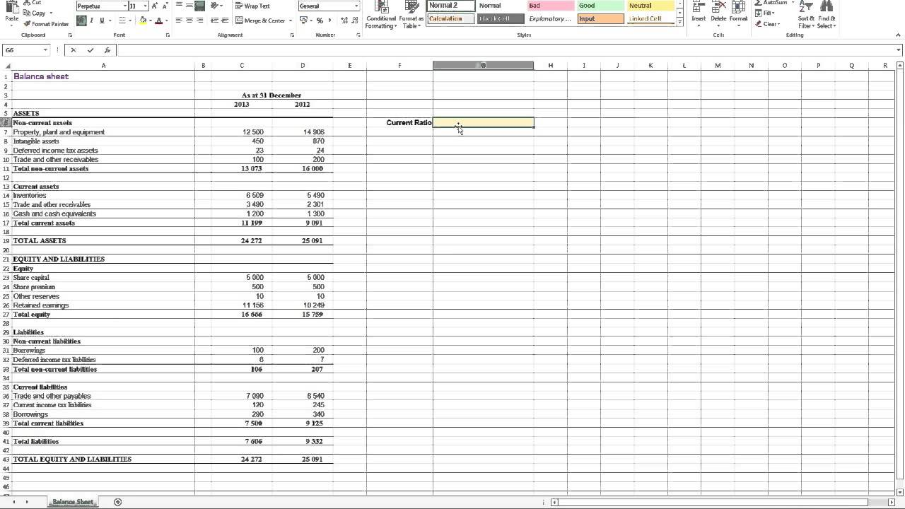 calculating current ratio in excel