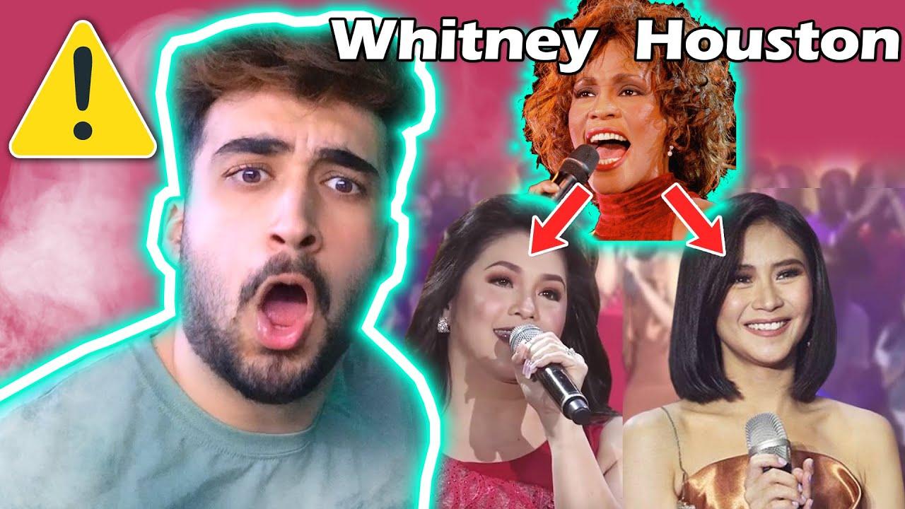 Whitney Houston Medley by Regine Velasquez-Alcasid and Sarah Geronimo   HORRIBLE SINGER REACTION