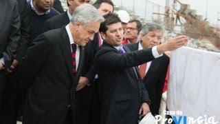 Sebastián Piñera visitó avances en la remodelación del Estadio El Teniente.