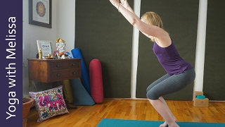 How to Balance in Chair Pose, Awkward Pose, Utkatasana Yoga with Melissa 369