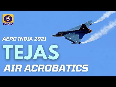 Air Aerobatics by Tejas - multirole light fighter at Aero India Show 2021