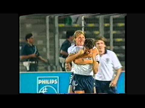 Gary Lineker scores his 35th International goal for England vs West Germany