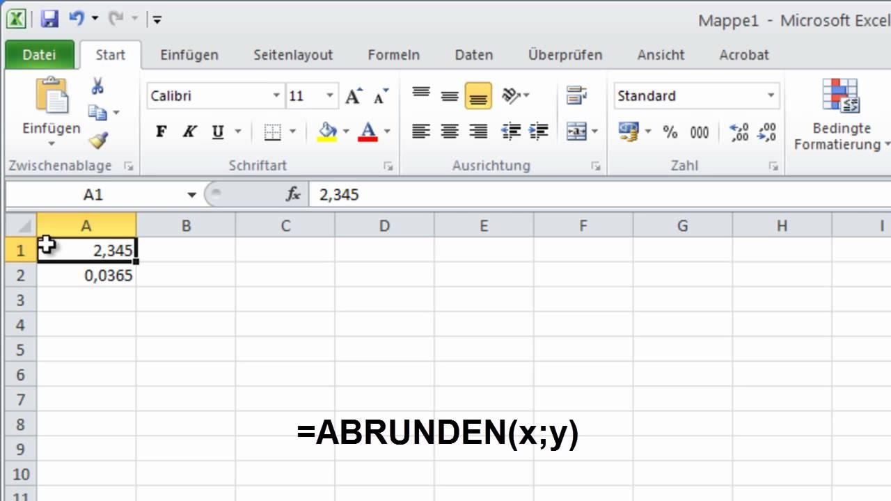Excel runden formel
