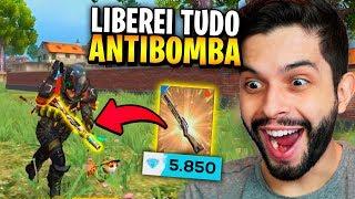 IMUNE CONTRA LANÇA?!? LIBEREI TUDO DO NOVO PASSE ANTIBOMBAS DO FREE FIRE!!!