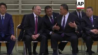 Abe and Putin attend judo fight in Tokyo