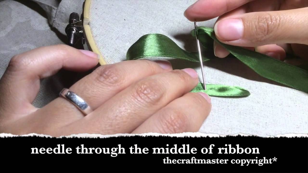 Ribbon Embroidery How2 Make A Leaf(straight) By Thecraftmaster