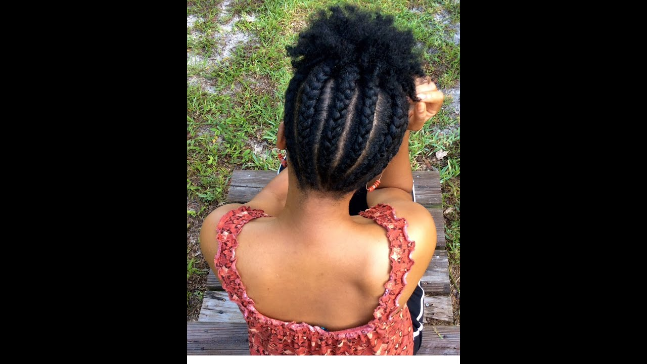 Natural Hair Braided Updo Short Medium Length Youtube