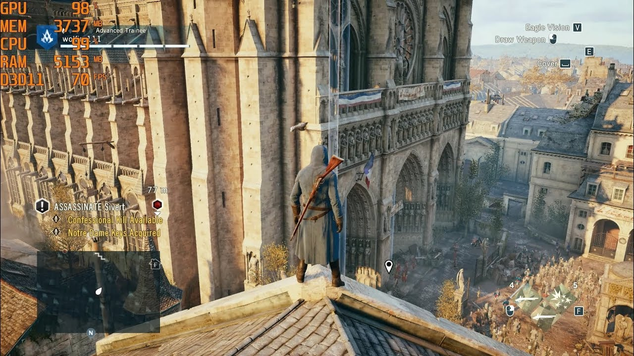 assassins creed unity pc gameplay max settings