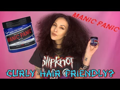 Manic Panic ♥ Dying Curly Natural Hair || Cyber Coco || Dark Hair To Blue