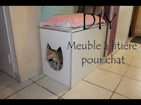 Diy meuble liti re chat youtube - Meuble litiere chat ...