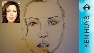 hoe teken je een gezicht drawing a face kate beckinsale