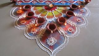 Innovative and beautiful rangoli using quilling comb | Diwali special rangoli by Poonam Borkar