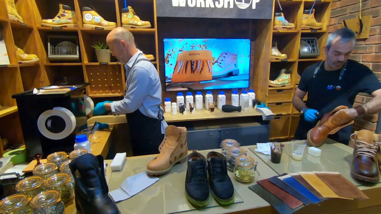 Stahl Shoe Finish & Leather Care at the Timberland store in London