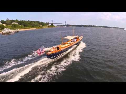 STILETTO - Herreshoff Designed Wooden Torpedo Boat cruising on Narragansett Bay