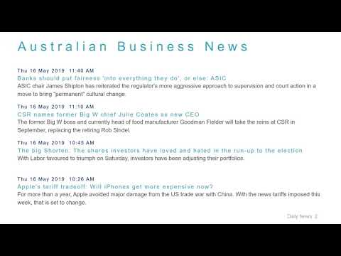 Business News Headlines for 16 May 2019 - 1 PM Edition