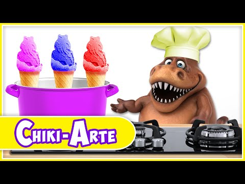 Chiki-Arte Aprende a Dibujar   Un Dinosaurio Cocinero Hace Helados de Colores
