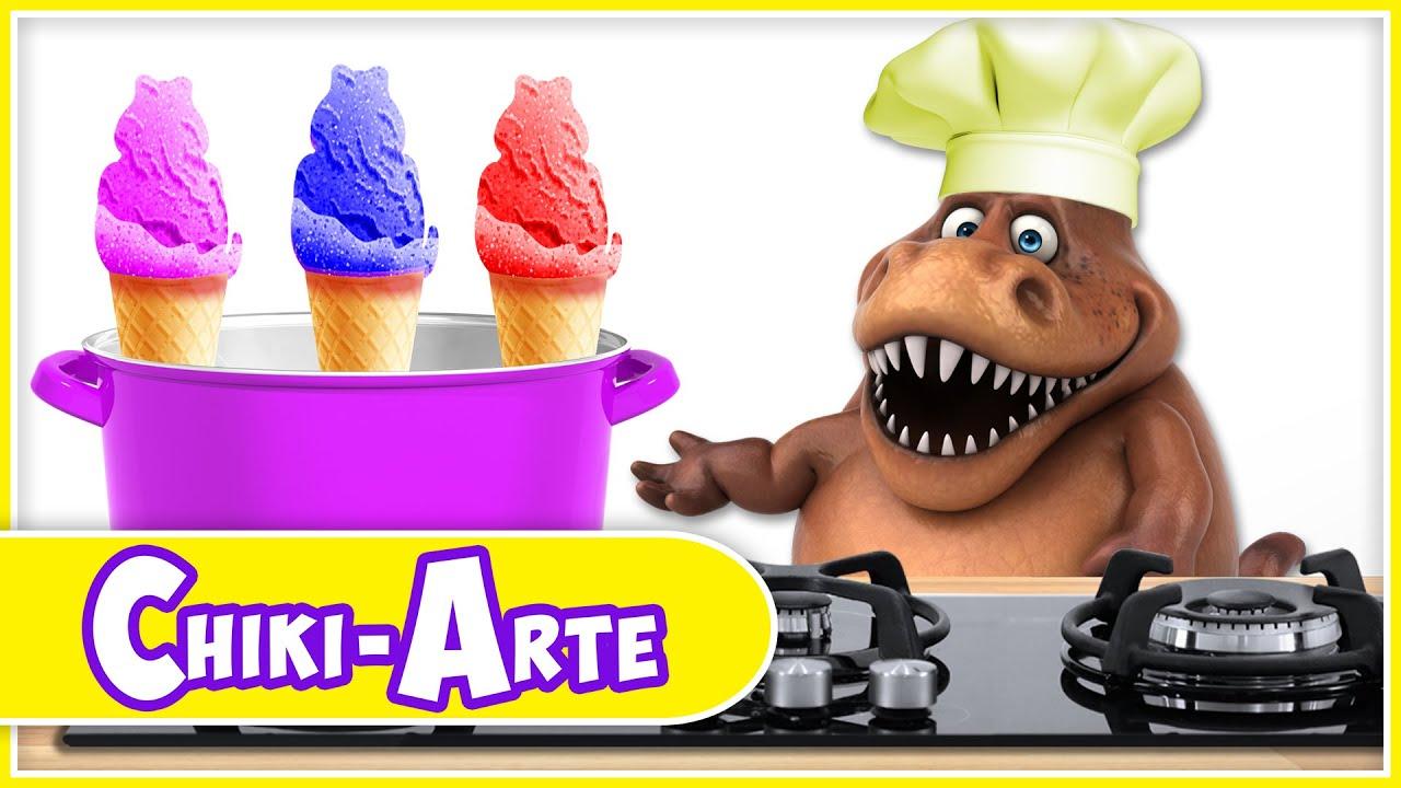 Download Chiki-Arte Aprende a Dibujar | Un Dinosaurio Cocinero Hace Helados de Colores