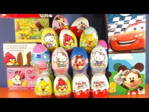 HUEVOS KINDER CHOCOLATE.ANGRY BIRDS,MINNIE MOUSE DISNEY,PITUFOS 2.KINDER EGGS,ANGRY BIRDS Videos De Viajes