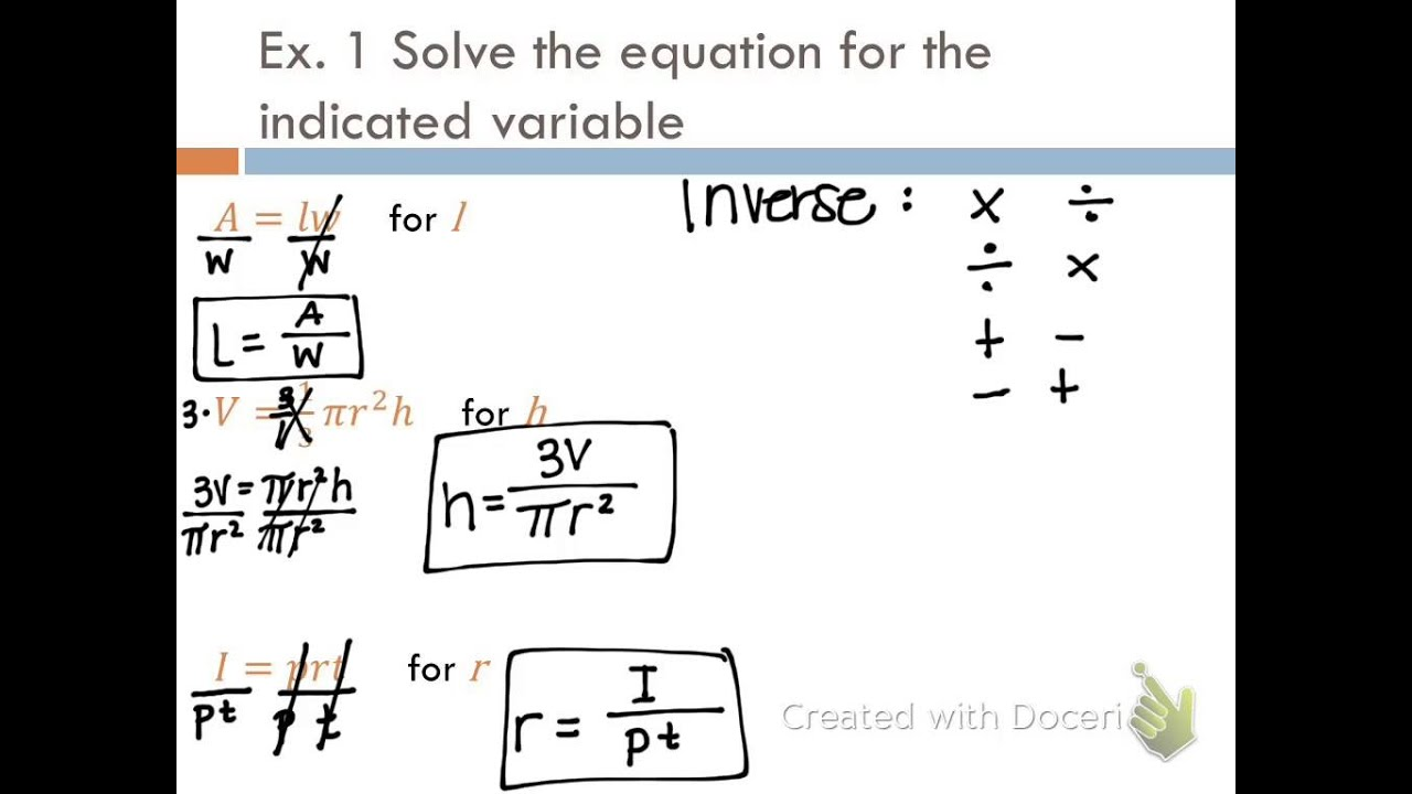 Algebra I Lesson 3 7 Formulas Amp Functions