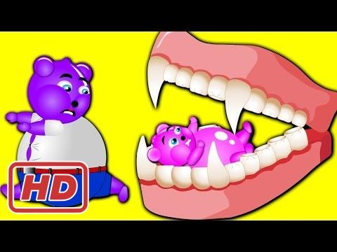 [Hot] Mega Fatty Gummy Bear Crying When Attacked Big Teeth Finger Family Nursery Rhyme For Children
