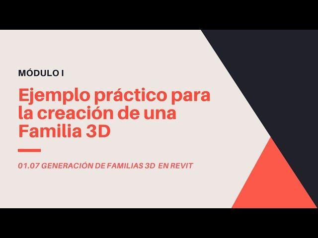 Familias en Revit 2020 | 07 02 Creacion de Familia 3D básica en Revit